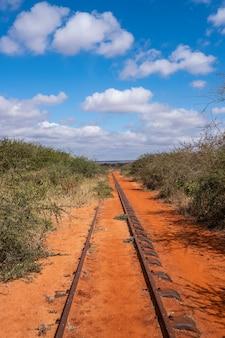 Estrada de ferro cercada por árvores sob o céu azul em tsavo west, taita hills, quênia