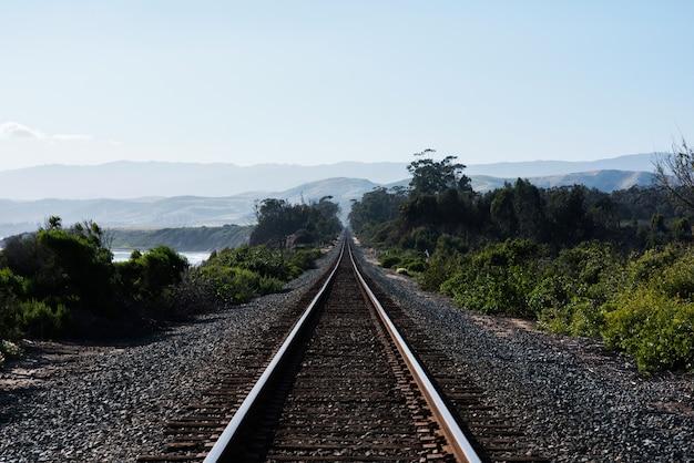 Estrada de ferro rodeada de colinas e vegetação ao sol