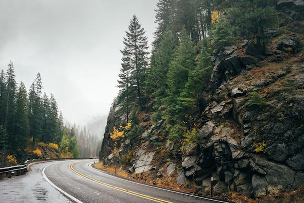 Estrada de montanha vazia com árvores verdes