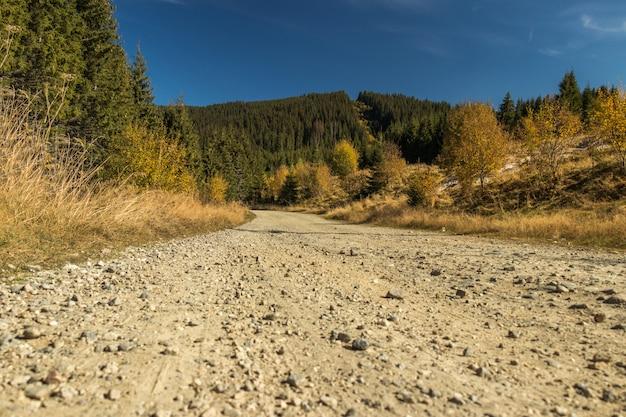 Estrada de terra nas colinas