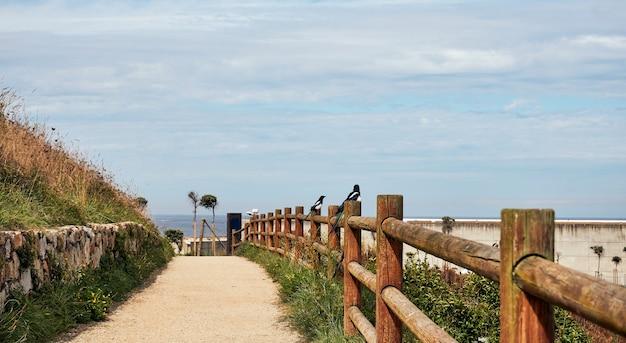 Estrada de terra para uma caminhada ou corrida tranquila na cidade com vista para o mar