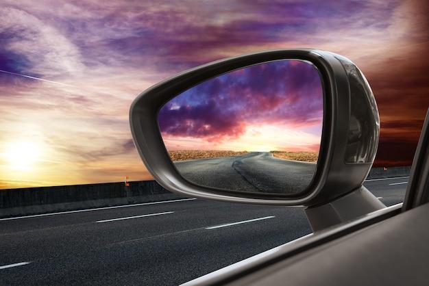 Estrada, em, espelho rearview