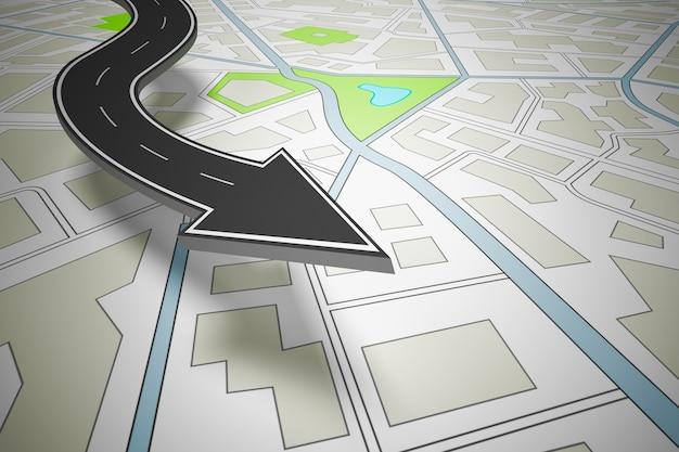 Estrada em forma de seta indicando a direção acima de um mapa de navegação. renderização 3d