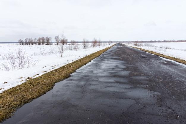 Estrada inverno, em, um, campo