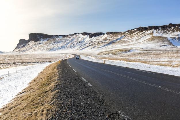 Estrada, inverno, montanha, islândia