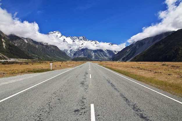 Estrada na ilha sul, nova zelândia