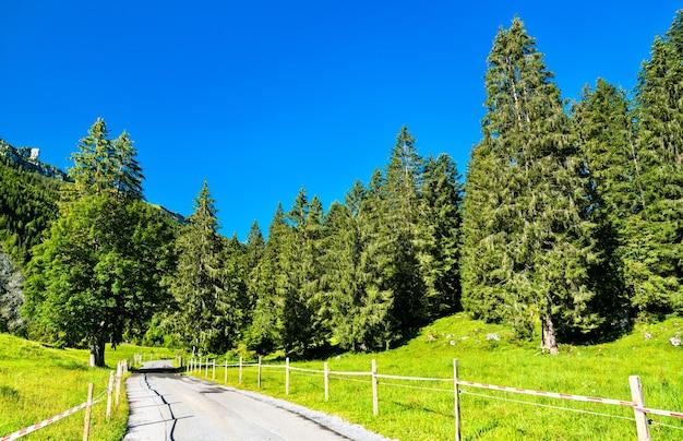 Estrada no vale obersee no cantão de glarus, suíça