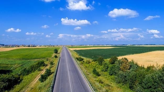 Estrada paisagem, e, campo, vista, de cima