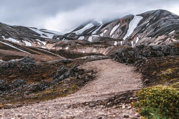 Estrada para landmanalaugar nas terras altas da islândia.