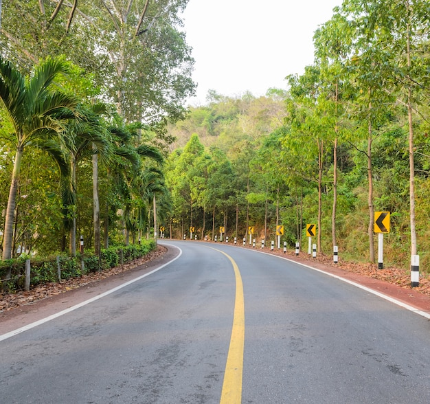 Estrada rural com sinal de estrada curva de aviso