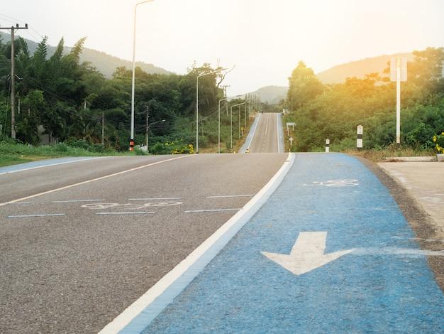 Estrada rural e ciclovia no meio da natureza verde.