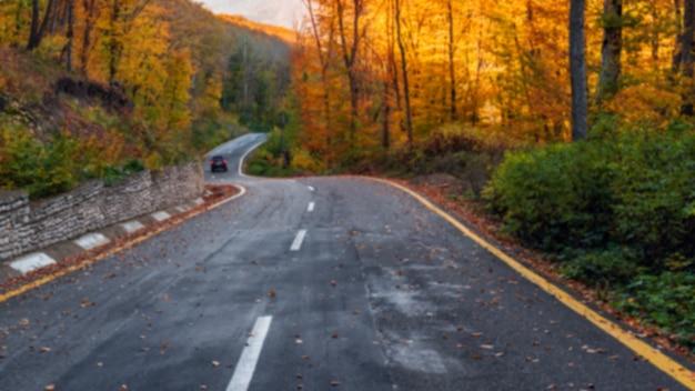 Estrada sinuosa na colorida floresta de montanha de outono