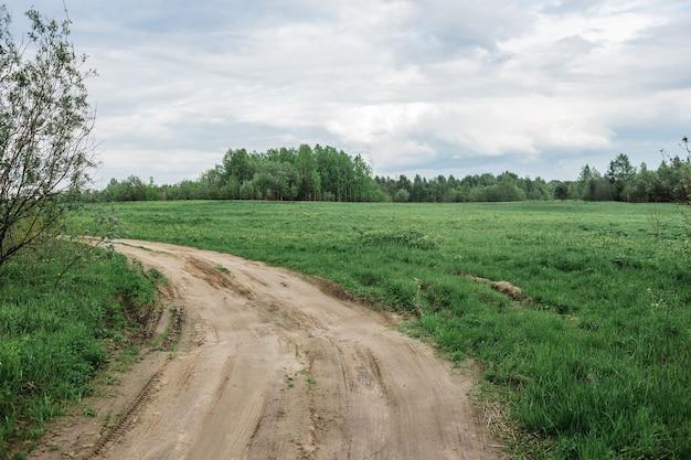 Estrada terrestre e prados verdes no início do verão