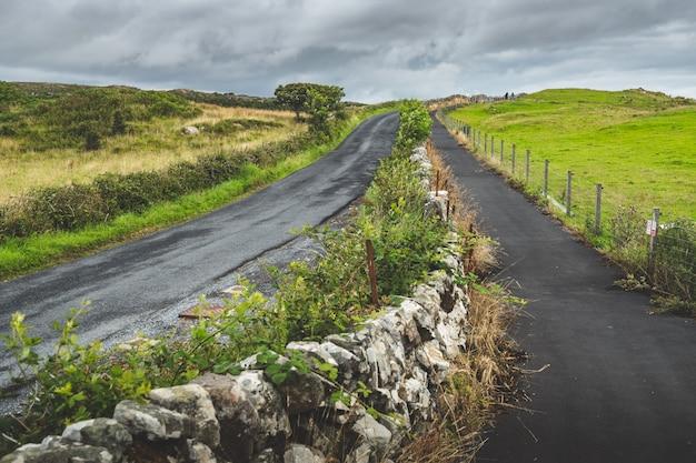 Estradas escocesas do campo do close-up. ilha islay.