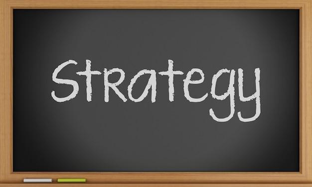 Estratégia escrita na lousa. conceito de negócios.