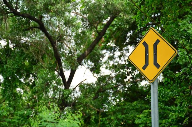Estreita, ponte, sinal, em, estrada rural