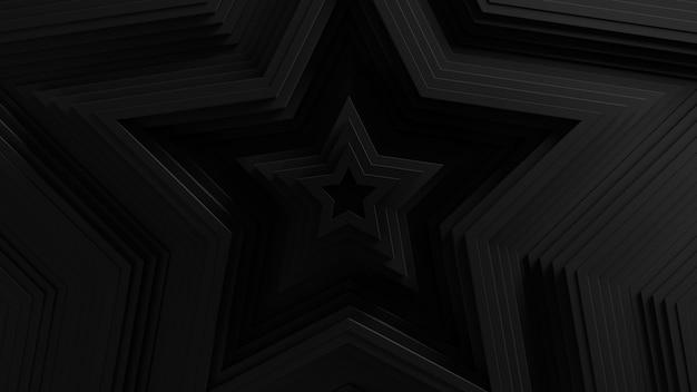Estrela abstrata em forma de fundo de oscilação das cortinas. . superfície ondulada da estrela 3d. deslocamento de elementos geométricos.