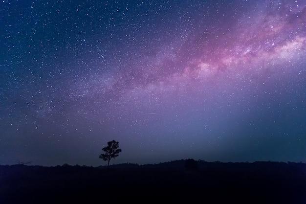 Estrela, astronomia, galáxia da via láctea, fotografia longa exposição com grãos no parque natural de thung kamang,
