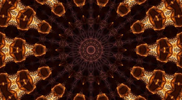 Estrela bege em fundo marrom, caleidoscópio de flor abstrata.