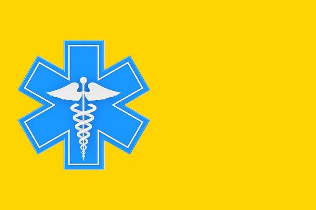 Estrela da vida de emergência médica azul com símbolo médico caduceu branco sobre um fundo amarelo. renderização 3d