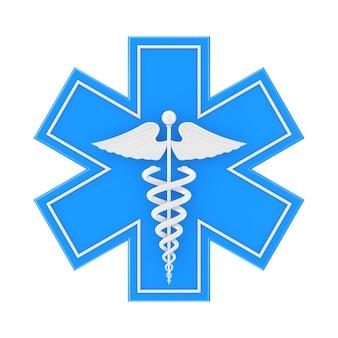 Estrela da vida de emergência médica azul com símbolo médico caduceu branco sobre um fundo branco. renderização 3d