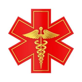 Estrela da vida de emergência médica vermelha com símbolo médico de caduceu de ouro em um fundo branco. renderização 3d