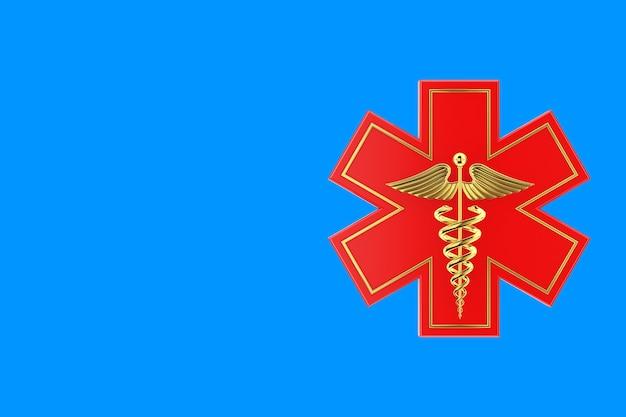 Estrela da vida de emergência médica vermelha com símbolo médico de caduceu de ouro sobre fundo azul. renderização 3d