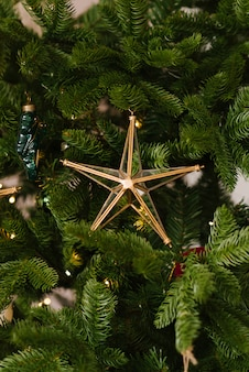 Estrela de brinquedo de natal de vidro na árvore de natal