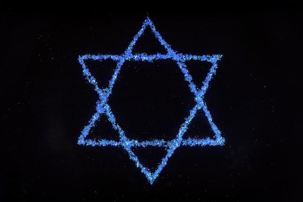 Estrela de david azul. símbolo judeu em fundo preto.