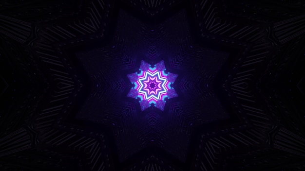 Estrela de néon na escuridão ilustração 3d 4k uhd