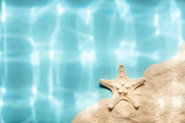 Estrela do mar branca na areia e fundo azul com sombras rasgadas subaquáticas, vista de cima, espaço de cópia