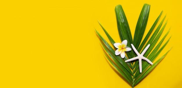 Estrela do mar com flor plumeria ou frangipani em folhas de palmeira tropical em fundo amarelo. aproveite o conceito de férias de verão. copie o espaço