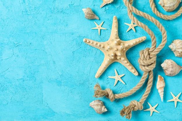 Estrela do mar, conchas e cordas do mar na cor de fundo, espaço para texto e vista de cima. conceito de férias de verão
