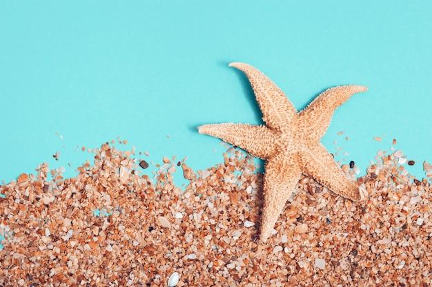 Estrela do mar grande na praia com areia e água azul-turquesa