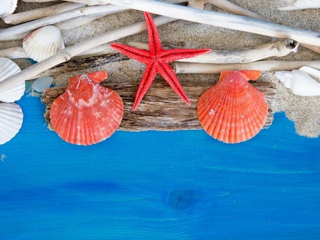 Estrela do mar, madeiras resistidas, areia e conchas na vista superior da parede de madeira azul com espaço de cópia