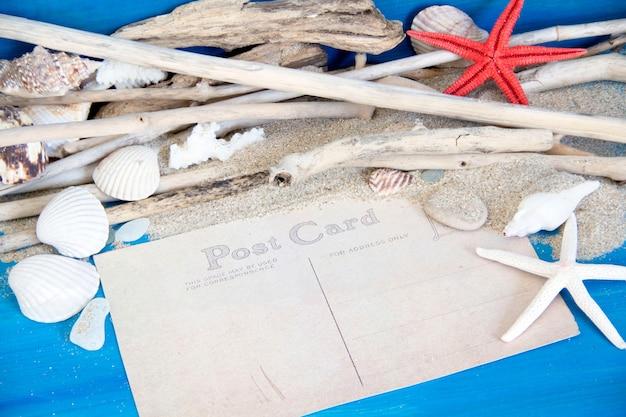 Estrela do mar, madeiras resistidas, corais e conchas na parede de madeira azul perto com espaço de cópia em papel cartão postal