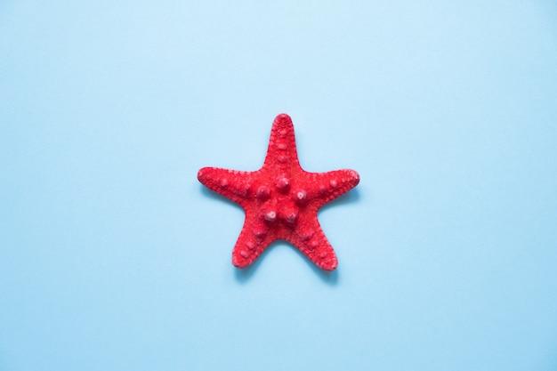 Estrela do mar vermelha no mar azul com espaço de cópia