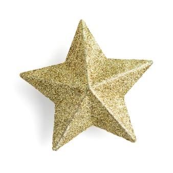 Estrela dourada brilhando em branco