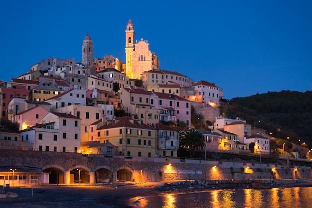 Estrelado, céu, e, luar, em, glowing, cervo, liguric, riviera, itália