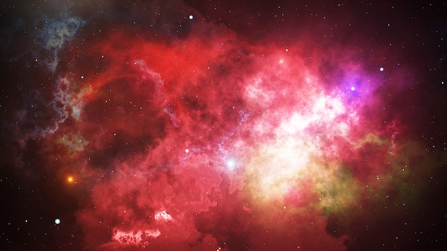 Estrelas brilhantes e nebulosas no espaço aberto