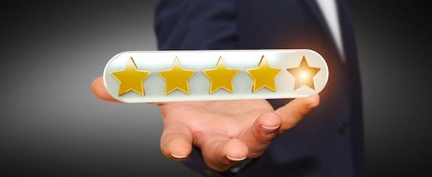Estrelas de avaliação do empresário com a mão de renderização em 3d