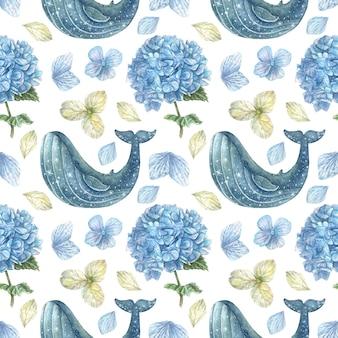Estrelas de padrão sem emenda e hortênsias azuis com pétalas e flores de cor azul e branca desenhadas à mão