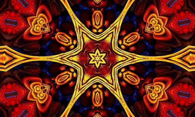 Estrelas de raios laranja no padrão preto retro texturizado dos anos 70. abstrato base caleidoscópio exclusivo. padrão sem emenda de lindo caleidoscópio. textura de caleidoscópio perfeita