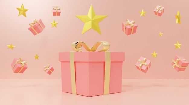 Estrelas e caixas de presente rosa