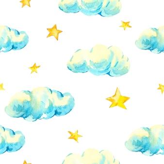 Estrelas e nuvens vintage em aquarela