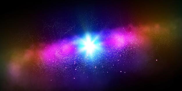 Estrelas, planeta e galáxia em um espaço livre
