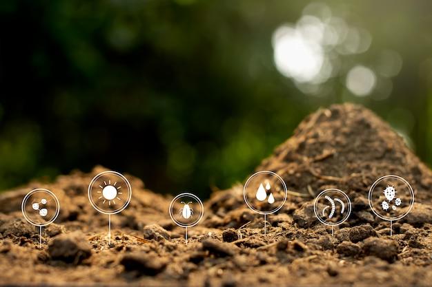 Estrume ou esterco com ícones de tecnologia sobre decomposição tornam-se solo ao redor.