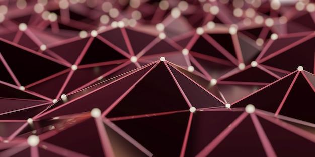 Estrutura abstrata da conexão com pontos e linhas de conexão - rendição 3d