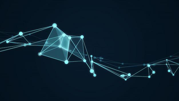 Estrutura abstrata molécula futurista cor azul fundo preto