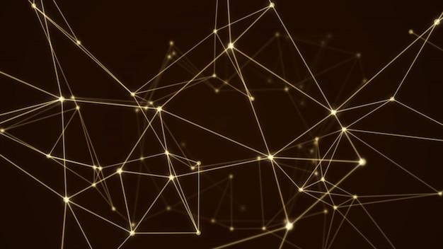 Estrutura abstrata molécula futurista cor de ouro fundo preto
